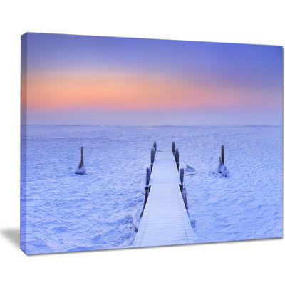 Designart Jetty In Frozen Lake Netherlands Canvas Art
