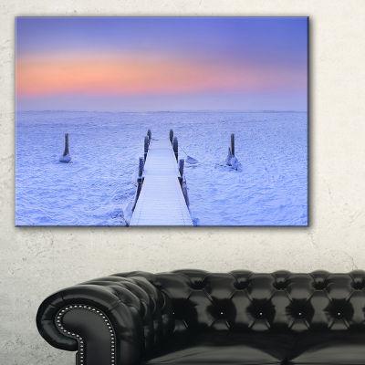 Designart Jetty In Frozen Lake Netherlands Canvas Art