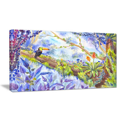 Designart Jungle With Bird Toucan On Tree Canvas Art