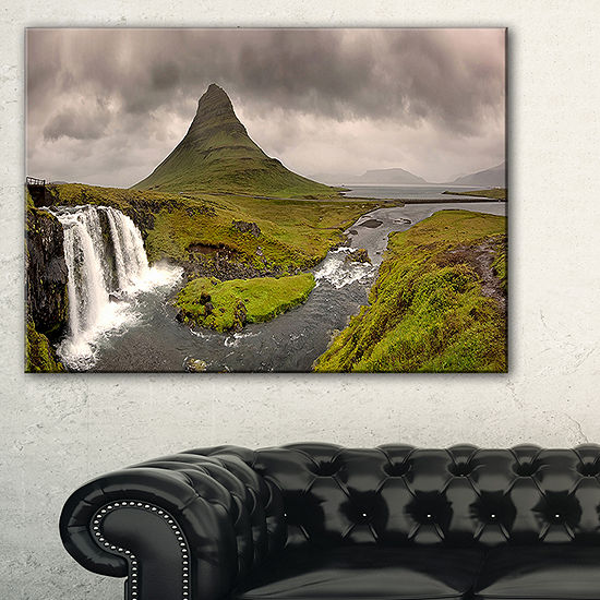 Designart Kirkjufell Waterfalls In Grundarfjordur Canvas Art