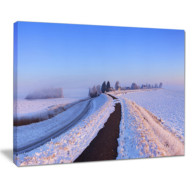Designart Lake And Dike At Sunrise Panorama Canvas Art