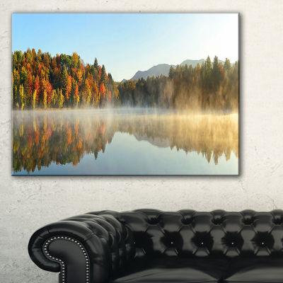 Designart Lake Autumn Foliage Fog Panorama Canvas Art