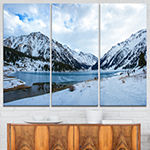 Designart Lake Between Foggy Mountains 3-pc. Canvas Art