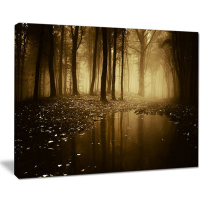 Designart Lake In Forest With Fall Fog Canvas Art
