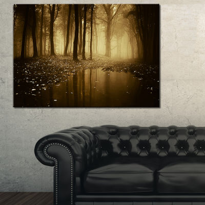 Designart Lake In Forest With Fall Fog 3-pc. Canvas Art