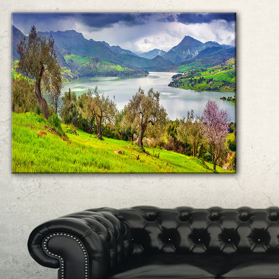 Designart Lake Rosamarina Panorama Canvas Art