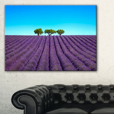 Designart Lavender Flowers And Uphill Green Trees Canvas Art