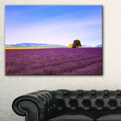 Designart Lavender Flowers With Old House Canvas Art