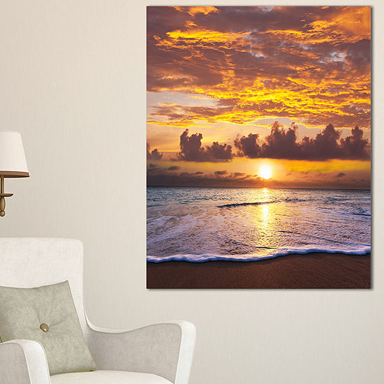 Designart Layers Of Yellow Clouds At Sunset Canvas Art