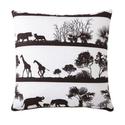 African Safari Euro Sham White Background; Black Print