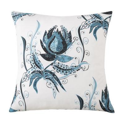 Tropical Bloom Euro Sham Blue Print