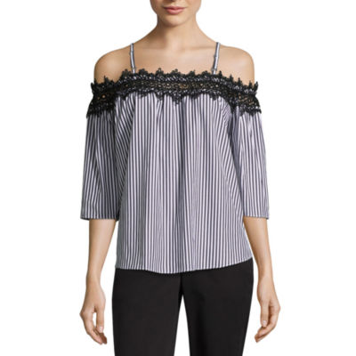 by&by 3/4 Sleeve Square Neck Poplin Lace Blouse-Juniors