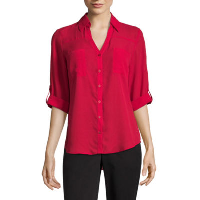 by&by Elbow Sleeve Collar Neck Crepe Blouse-Juniors