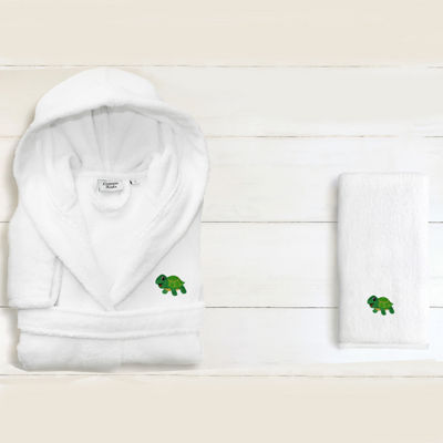 Linum Kids 100% Turkish Cotton Hooded Unisex TerryBathrobe And 1 Hand Towel -Turtle