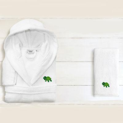 Linum Kids 100% Turkish Cotton Hooded Unisex TerryBathrobe And 1 Hand Towel -Turtle