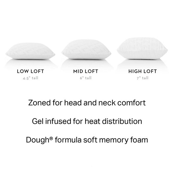 Malouf Z Zoned Gel Dough Infused Memory Foam Pillow - Mid Loft