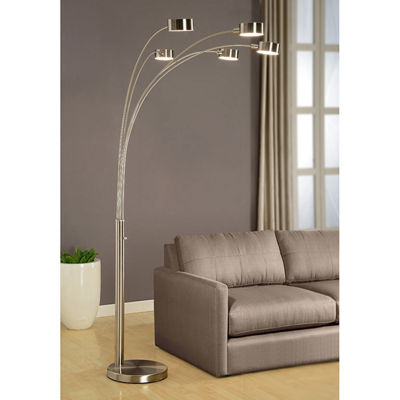 Tenbury Wells Collection 'Micah' Modern Arched Brushed Steel Five Light 88-inch Floor Lamp