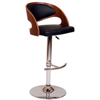 Armen Living Malibu Swivel Barstool in Faux Leather and Chrome Finish with Walnut Veneer