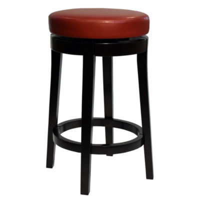 Armen Living MBS-450 Backless Swivel Counter Height Barstool in Bonded Leather