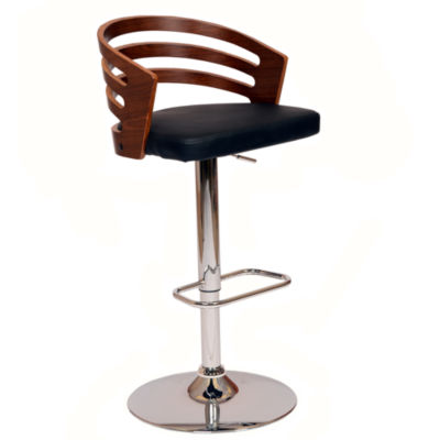 Armen Living Adele Swivel Barstool in Faux Leather and Chrome Finish with Walnut Veneer