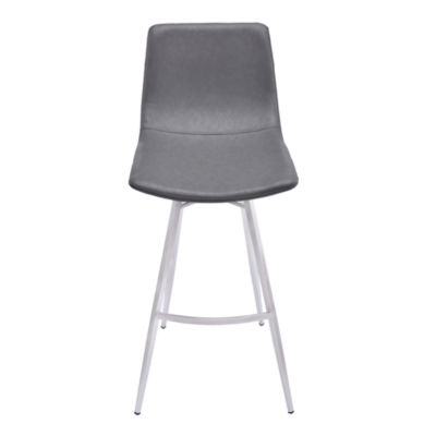 Armen Living Athens Metal Barstool in Faux Leather and Brushed Stainless Steel Finish