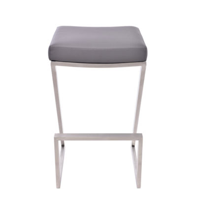 Armen Living Atlantis Backless Barstool in Faux Leather and Brushed Stainless Steel Finish