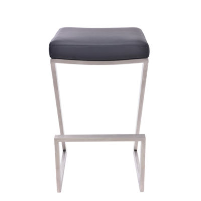 Armen Living Atlantis Backless Counter Height Barstool in Faux Leather and Brushed Stainless Steel Finish