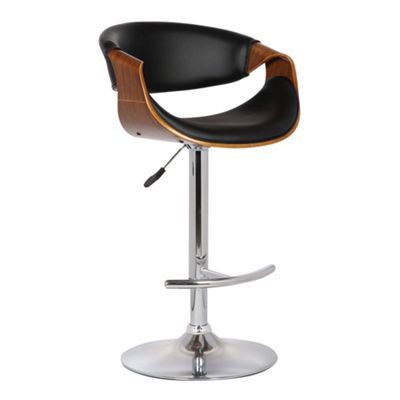 Armen Living Butterfly Adjustable Swivel Barstool in Faux Leather with Chrome Finish and Walnut Wood