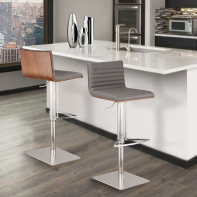 Armen Living Cafe Adjustable Metal Barstool in Faux Leather and Brushed Stainless Steel Finish with Walnut Back