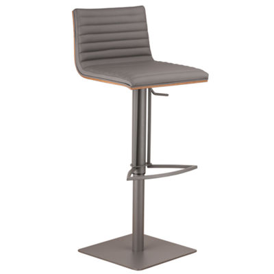 Armen Living Cafe Adjustable Metal Barstool in Faux Leather and Grey Metal with Walnut Back