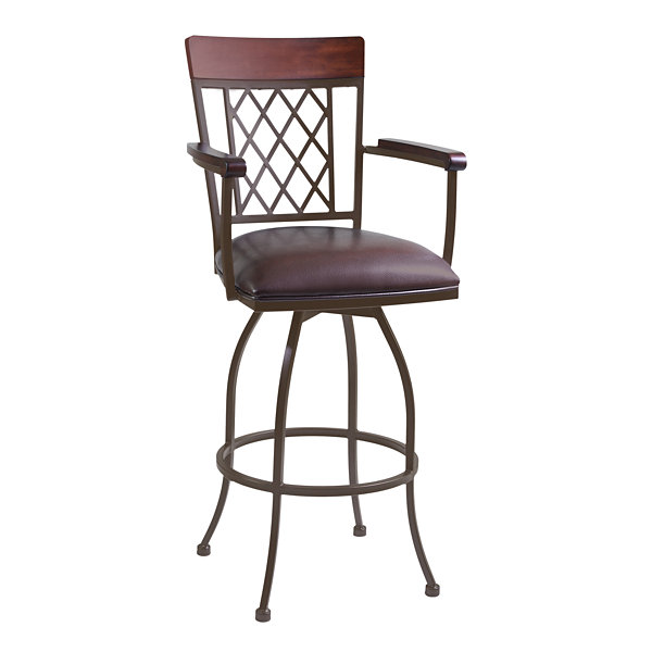 Armen Living Napa Arm Barstool in Faux Leather and Auburn Bay Finish