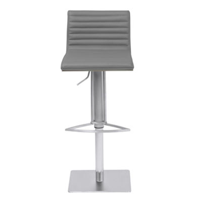 Armen Living Cafe Adjustable Metal Barstool in Faux Leather with Brushed Stainless Steel Finish and Gray Walnut Wood Back