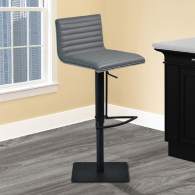 Armen Living Cafe Adjustable Swivel Barstool in Faux Leather with Black Metal Finish and Gray Walnut Veneer Back