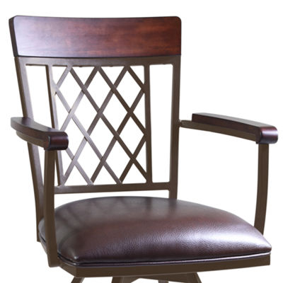 Armen Living Napa Arm Counter Height Barstool in Faux Leather and Auburn Bay Finish