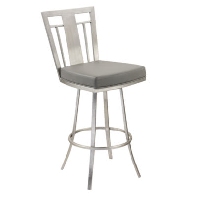 Armen Living Cleo Modern Swivel Barstool in Fabric and Brushed Stainless Steel Finish