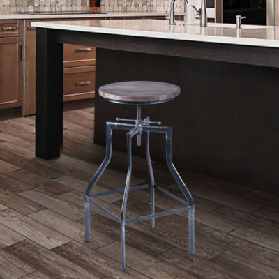 Armen Living Concord Adjustable Barstool in Industrial Finish with Pine Wood Seat
