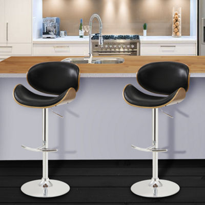 Armen Living Naples Swivel Barstool in Faux Leather and Chrome Finish with Walnut Veneer Back