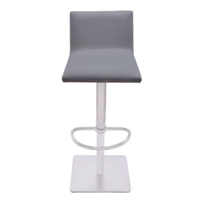 Armen Living Crystal Barstool in Faux Leather and Brushed Stainless Steel Finish with Walnut Back