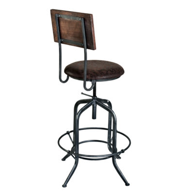Armen Living Damian Adjustable Barstool in industrial Grey Finish with Fabric Seat
