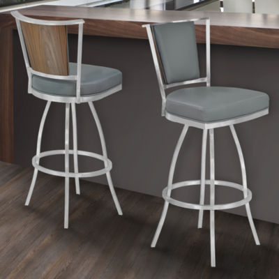 Armen Living Delhi Metal Counter Height Barstool in Faux Leather with Brushed Stainless Steel Finish and Walnut Veneer Back