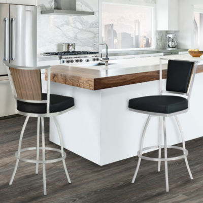 Armen Living Delhi Metal Barstool in Faux Leather with Brushed Stainless Steel Finish and Walnut Veneer Back