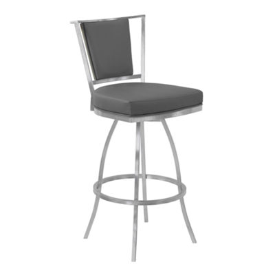 Armen Living Delhi Metal Swivel Counter Height Barstool in Faux Leather with Brushed Stainless Steel Finish and Gray Walnut Back