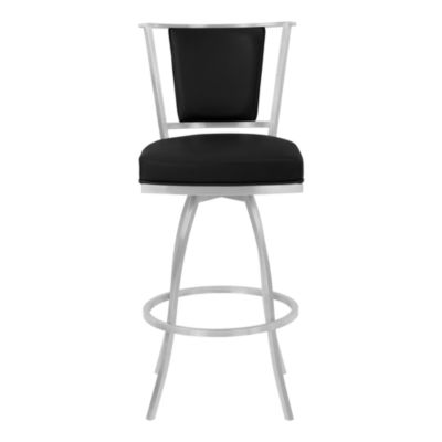 Armen Living Delhi Metal Swivel Barstool in Faux Leather with Brushed Stainless Steel Finish and Gray Walnut Back