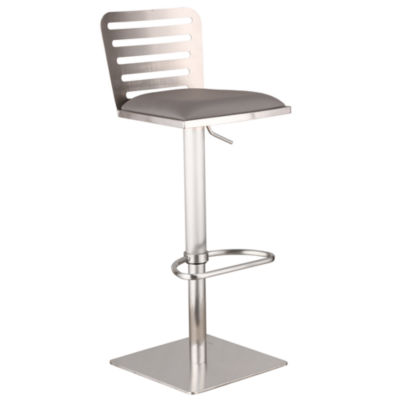 Armen Living Delmar Adjustable Metal Barstool in Faux Leather and Brushed Stainless Steel Finish