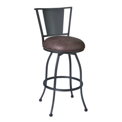 Armen Living Dynasty Counter Height Barstool in Fabric and Mineral Finish