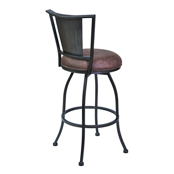 Armen Living Dynasty Barstool in Fabric and Mineral Finish