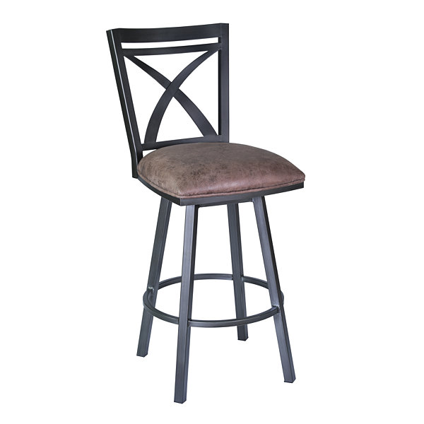 Armen Living Nova Swivel Metal Counter Height Barstool in Fabric and Mineral Finish