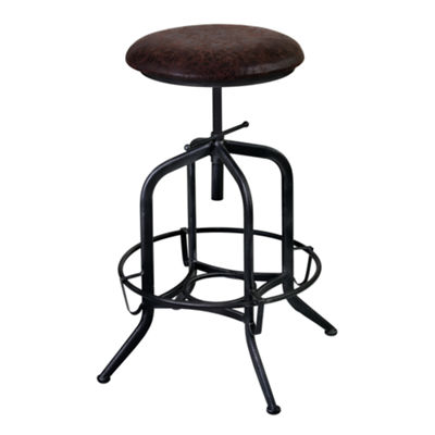 Armen Living Elena Adjustable Barstool in Industrial Grey Finish with Fabric Seat