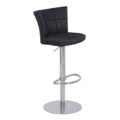 Armen Living Encore Adjustable Metal Barstool in Faux Leather with Brushed Stainless Steel Finish
