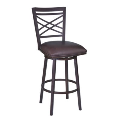 Armen Living Fargo Metal Counter Height Barstool in Faux Leather and Auburn Bay Finish